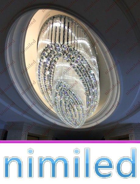 Nimi818 Oval Mühendislik Büyük Sarkıt K9 Kristal Tavan LED Aydınlatma Satış Departmanı Işıkları Otel Lobi Showroom Kulübü Avize