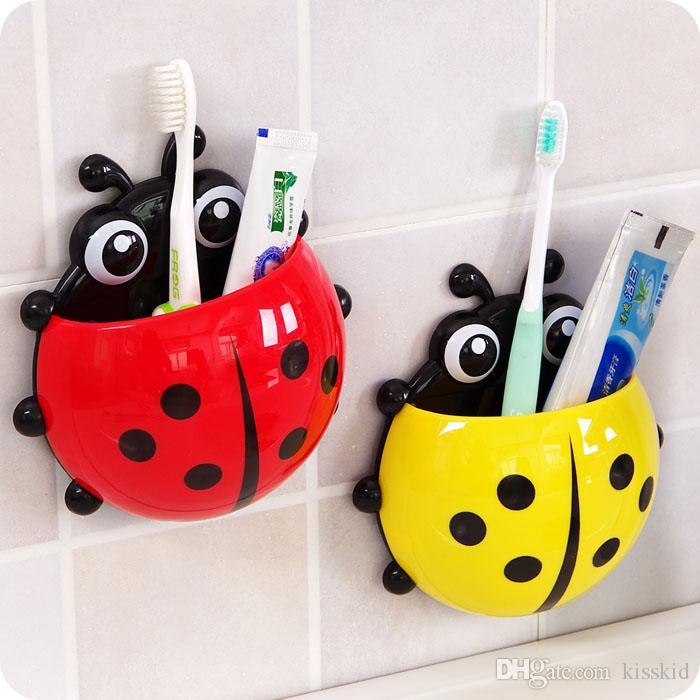 8pcs salle de bains mignonne brosse à dents truc tasse poche coccinelle mur ventouse organisateur titulaire 4 couleurs pour sélectionner