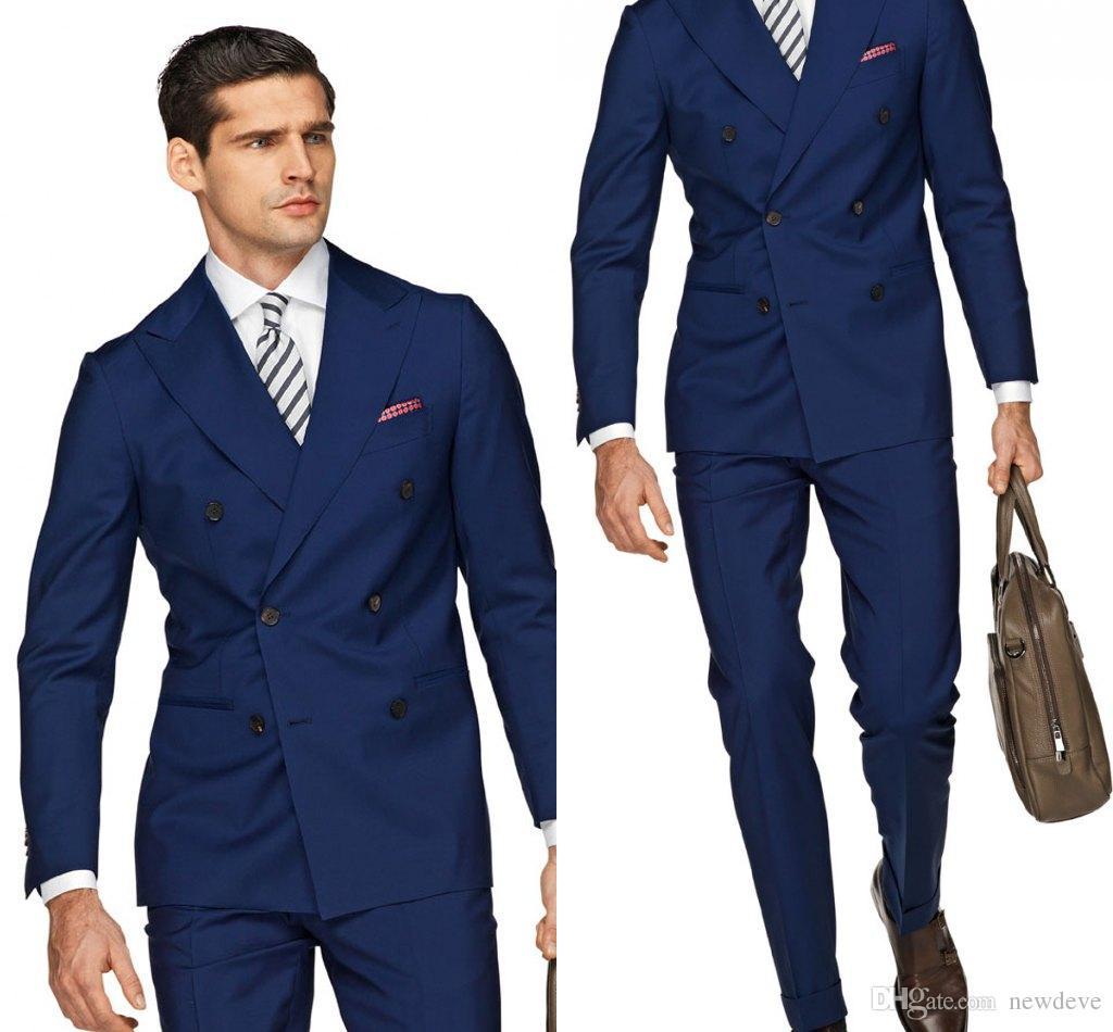 잘 생긴 블루 신랑 턱시도 슬림 맞는 정장 남자 정장 고품질 맞춤 제작 남자 정장