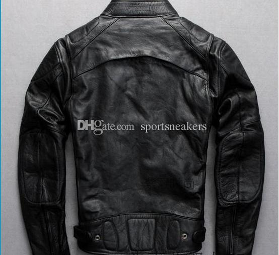 Abbigliamento da motociclista classico da uomo Cappotti di pelle spessi pelle di vacchetta genuina USA Canada Motocicletta per abbigliamento sportivo DHL