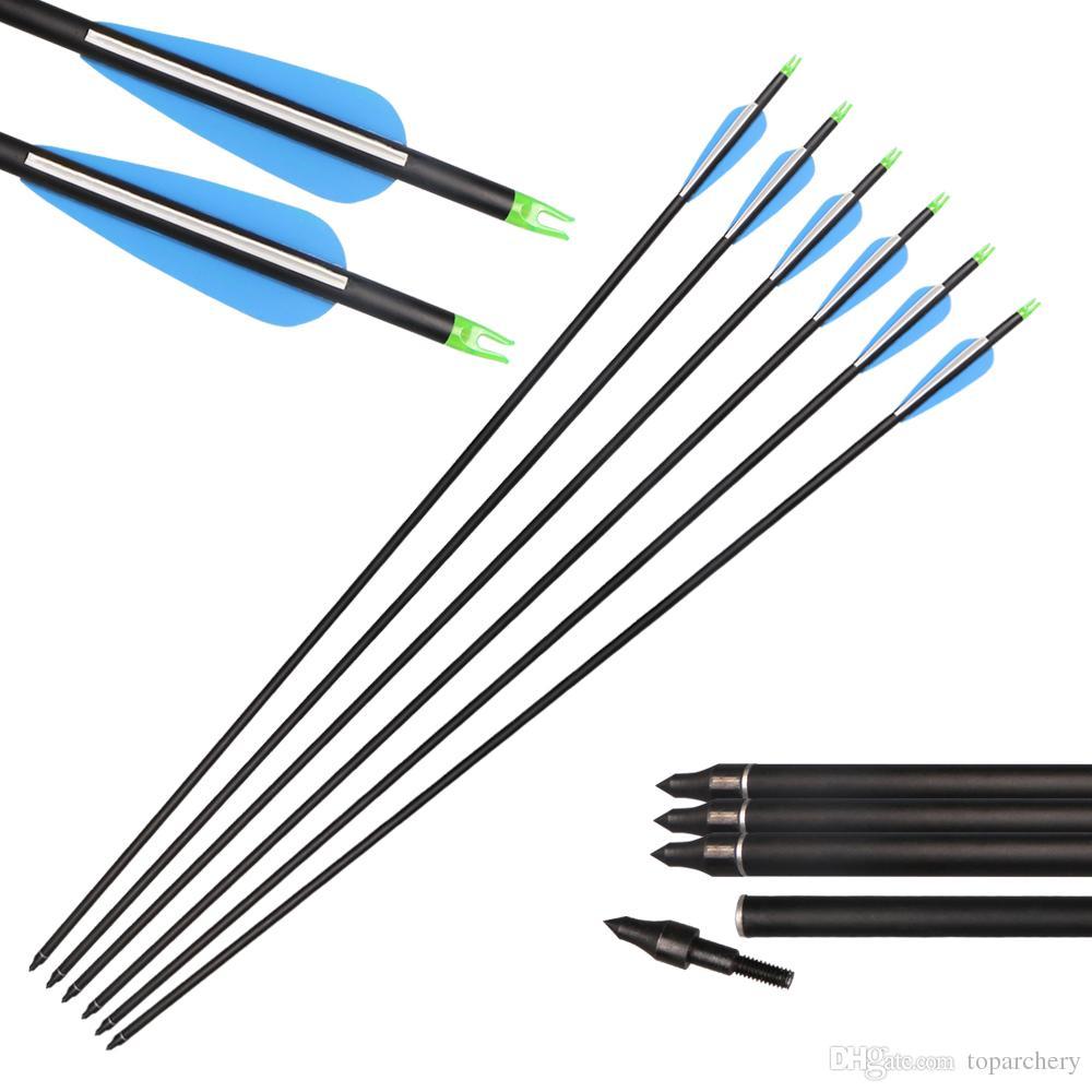 Tiro com arco Caça aletas de plástico Alvo de 31 polegadas Mix Flechas de Carbono com Pontos de Campo Dicas Substituíveis para Arcos