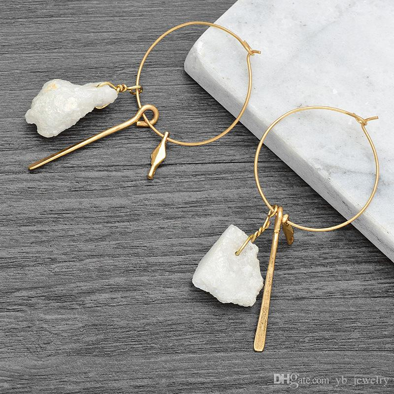 Creative New Europe & USA High-grade Big Ear Ring Earrings Natural Stone Pendant Hoop Earrings Factory Price Top Quality Free Shipping