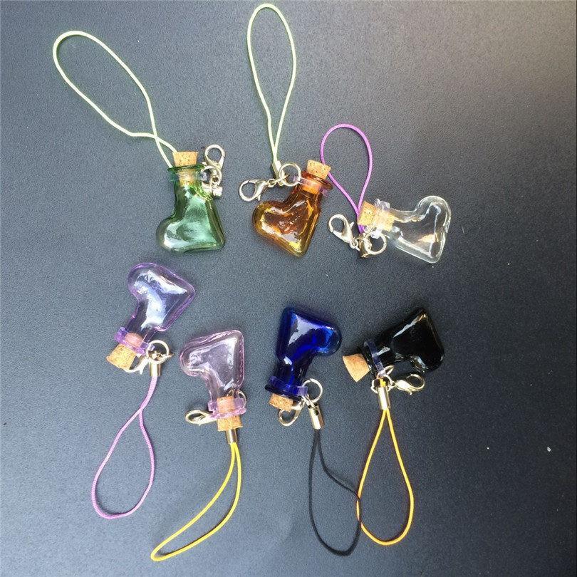 Mini Glass Bottles Pendant With Key Chains Lobster Clasp Bottles Handmade Pendant Gift Bottles Mix 7Colors4