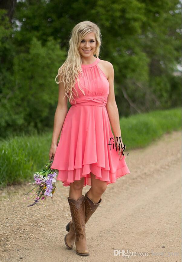 Moda Personalizado Vestidos de Cocktail Coloridos País Westen Ruched Chiffon Vestidos Dama de Honra Curto Na Altura Do Joelho dama de honra vestidos