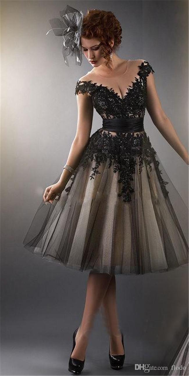 Little Black Dress Short Sheer Cocktail Prom Dresses A Line Beaded ...