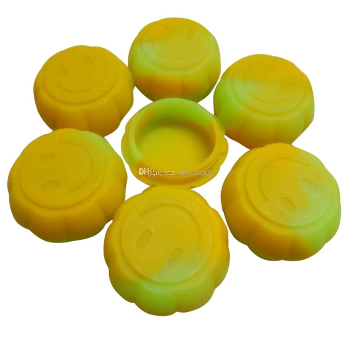 projeto 1000X único abóbora sorridente Wax Container Silicone Jars 5ml reutilizável Silicone Jars Dab Wax Container Silicone Non-stick Container