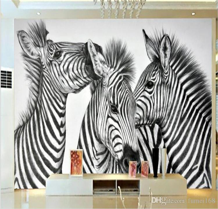 Zebra Pinto Animal Photo Wall Mural Living Walls Wallpaper 3D Embossed Wall  Paper Papel De Parede Do Desktop Novelty Paintings Hd Free Wallpaper Hd ...