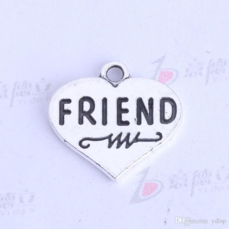 FRIEND flat love pendentif argent antique / bronze rétro DIY bijoux charmes fit Collier ou Bracelets 400pcs / lot 3433