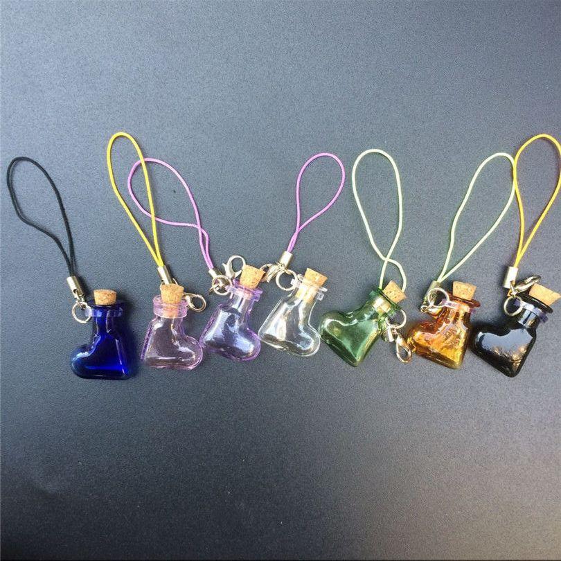 Mini Glass Bottles Pendant With Key Chains Lobster Clasp Bottles Handmade Pendant Gift Bottles Mix 7Colors3
