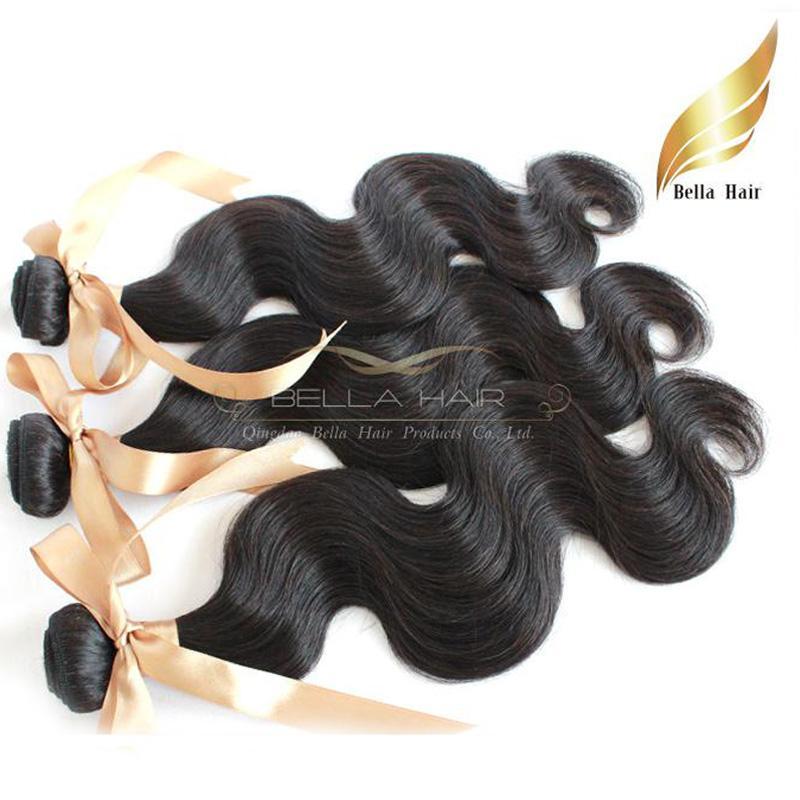 Hair Extensions 2pcs/lot Virgin Unprocessed Mongolian Hair Weaves Body Wave Double Weft Bellahair Natural Color DHL BULK Wholesale