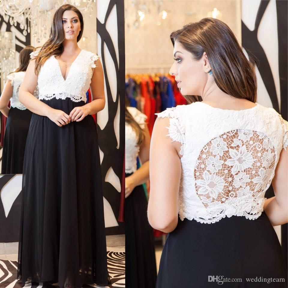 Black And White Lace Plus Size Prom Dresses Deep V Neck Beaded A Line  Evening Gowns Cheap Floor Length Empire Waist Chiffon Formal Dress Plus  Size ...