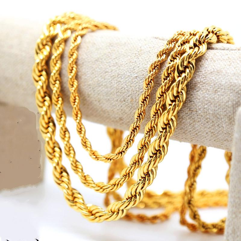 18K Yellow Gold Plated Rope Chain 30/'/' Link Men/'s Necklace UK SELLER