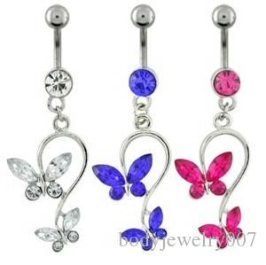 D0053 ( 5 colors ) bowknot style Belly Button Navel Rings Body Piercing Jewelry Dangle Accessories Fashion Charm (10PCS/LOT)JFB-7212
