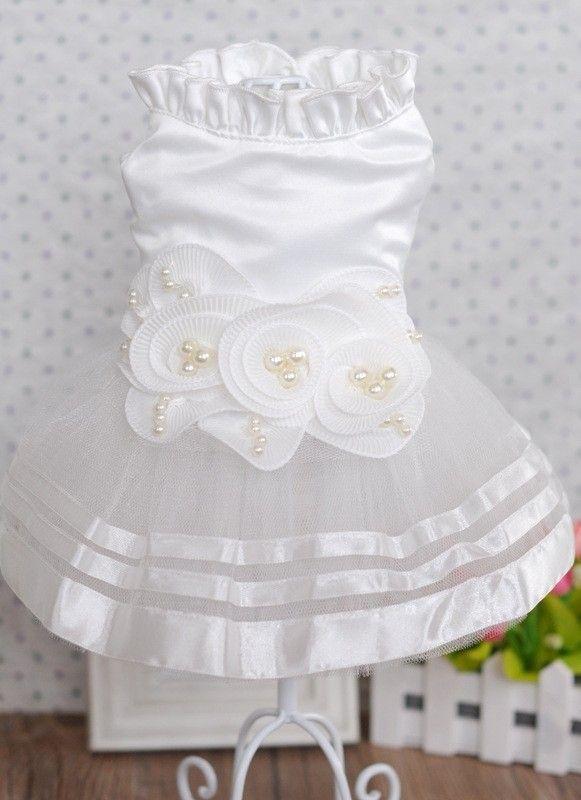 Pearl Flower Wedding Dresses For Dogs Adornment Dog Dress Pet Skirt Costume Supplies XS, S, M, L, XL