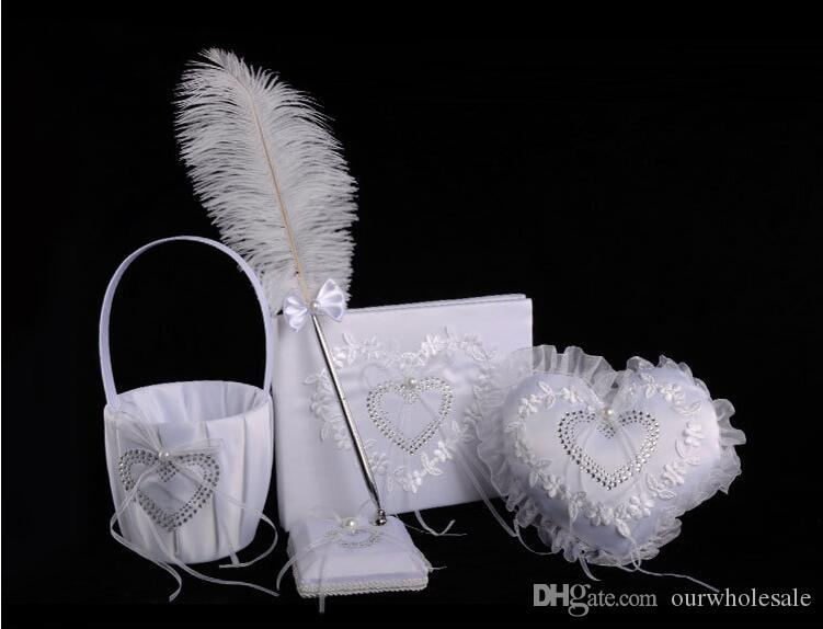 Hot sell western wedding products 4 sets of creativering pillow + sign book + feather pen + flower basket