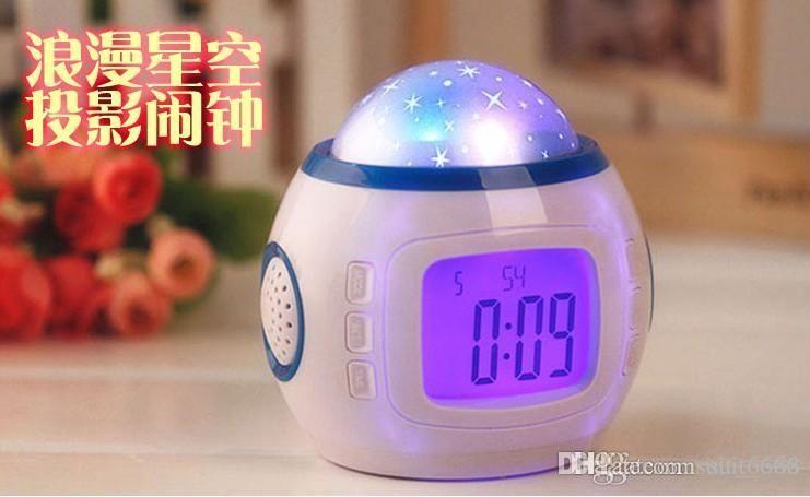 free sMusic Star projection clock luminous electronic alarm clock creative alarm mute child student individuality little bedside alarm clock