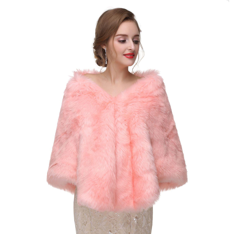 2017 New Arrival Faux Fur Pink Winter Bridal Jacket Warm Boleros Luxurious Wedding Bride Wraps Cape Wedding Jacket