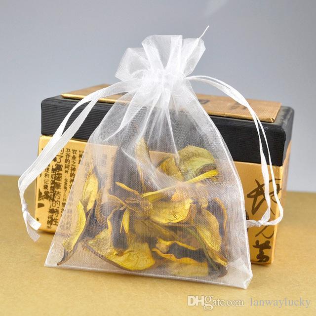 """Blanc Organza Cordons Pochettes Bijoux Partie Petit Faveur De Mariage Sacs D'emballage Emballage Cadeau Bonbons Wrap Carré 5 cm X 7 cm 2 """"X2.75"""" 100pcs lots"""