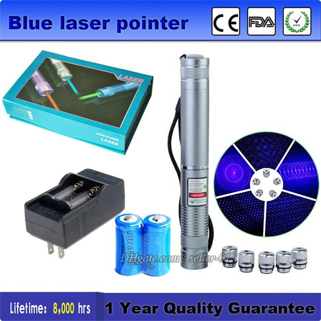 High Quality 450nm Blue Laser Pointer Pen Lazer Pointer + Battery Charger + Stars Cap Visible Beam SOS LED Flashlight Silver