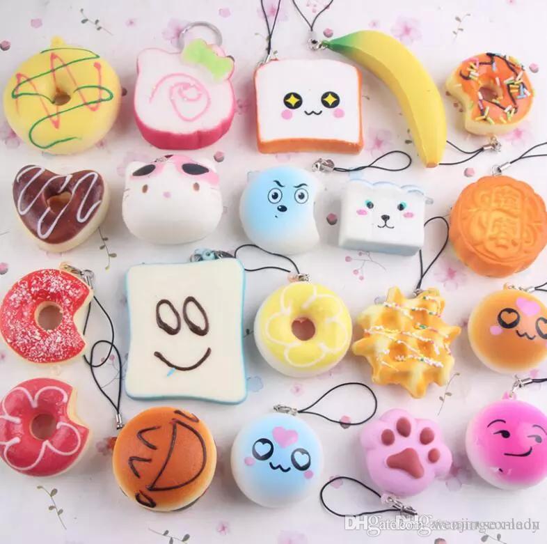 도매 kawaii quishy rilakkuma 도넛 부드러운 짜기 귀여운 전화 스트랩 가방 매력 천천히 상승 짜기 점보 빵 전화 매력