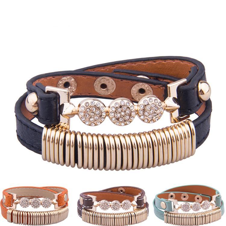 4 Colors Real 18K Gold Plated Genuine Leather Bracelet With Crystal Fashion Stainless Steel Jewelry for Women CZ Stone Charm Bracelets