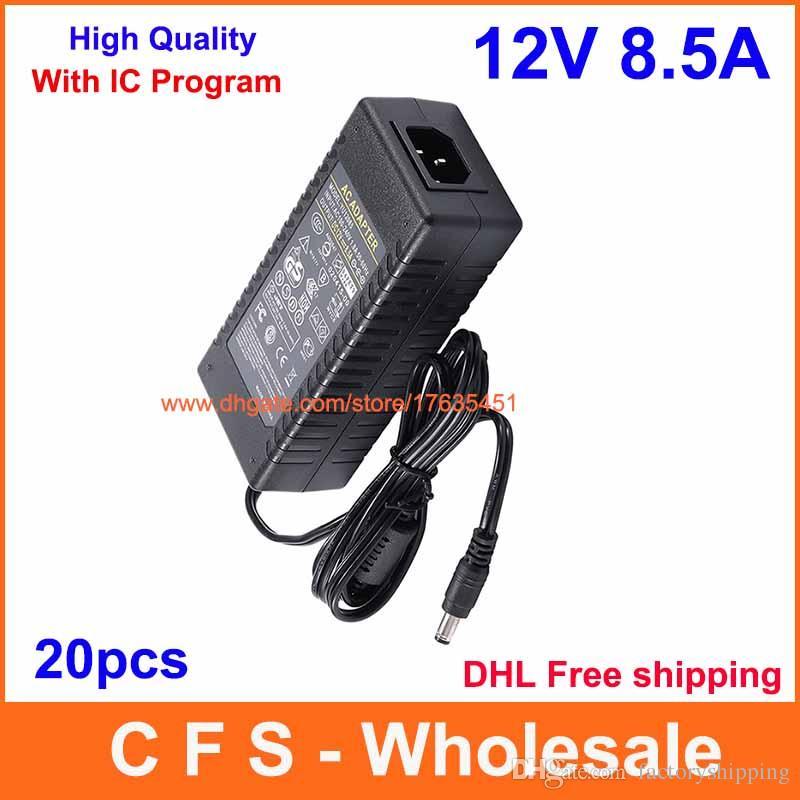 مع حماية IC 20PCS AC DC 12V 8.5A 100W التيار الكهربائي ، 12V 8A محول الطاقة شاحن DHL شحن مجاني