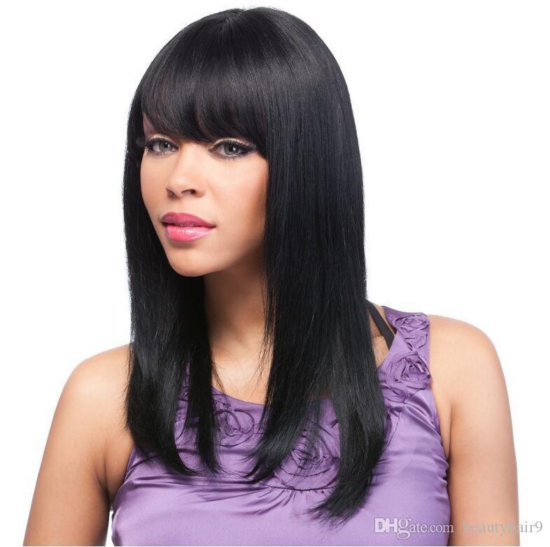Siyah kadınlar için toptan simülasyon Brezilyalı İnsan saç ipeksi düz tam peruk patlama ile ücretsiz kargo