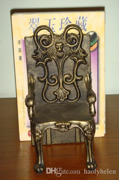 2 Pieces Antique Cast Iron Chairs Shape Bookend Book End High-quality Heavy Metal Home Office Desk Table Decor Study Vintage Crafts Stand