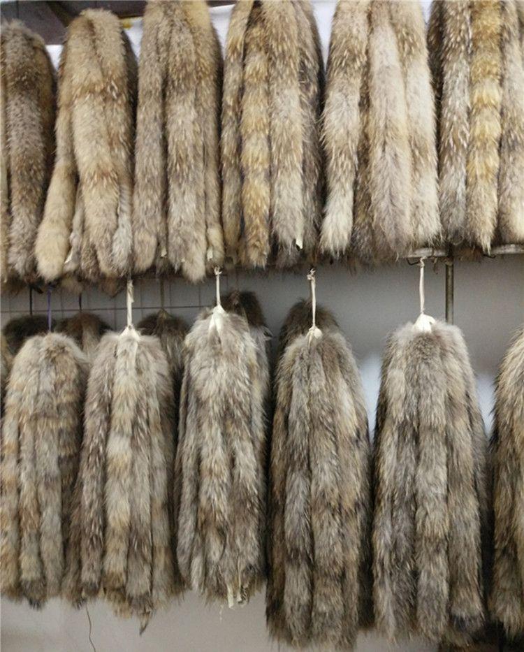 Vero collo di pelliccia 100% vera pelliccia di procione sciarpa 70 cm inverno per le donne vendita calda