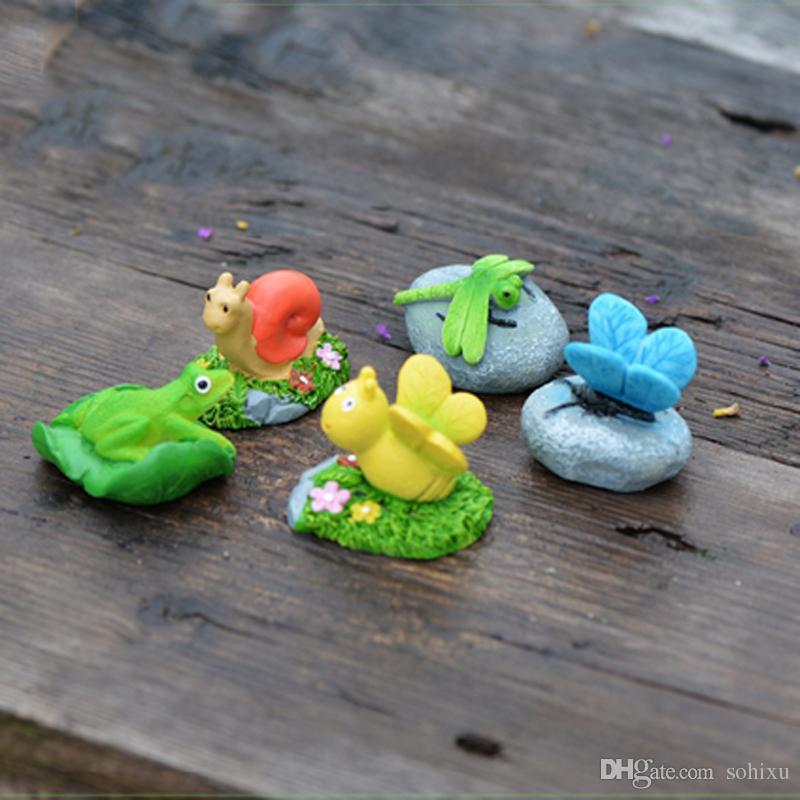 5pcs Animal Stone Bee Snail Figurines Fairy Garden Miniatures House Decor Resin Crafts Terrarium Baison Tools Home Accessories