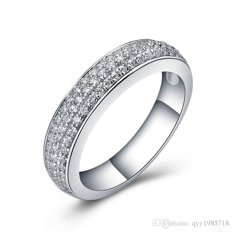 Romantic Tension Mount Engagement Ring Synthetic Diamond Ring 925 Sterling Silver Jewelry 18K White Gold Plated Wedding Rings