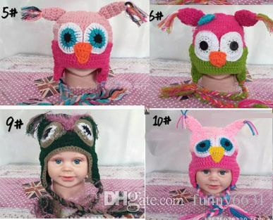 10pcs WINTER Hot sales Baby hand knitting owls hat Knitted hat Children's Caps 11 Color crochet hats for kids BOY AND GIRL HAT FREE SHIPPING