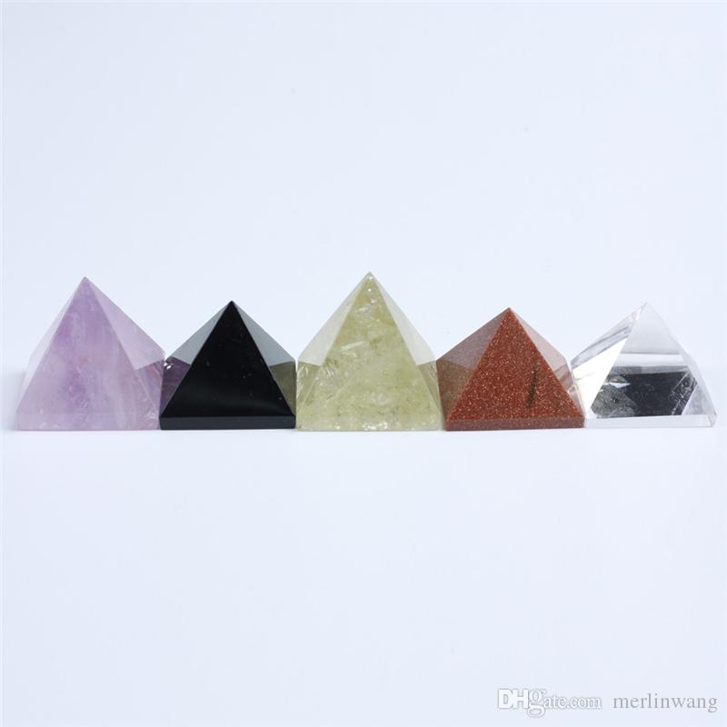 LIVRAISON GRATUITE Vente en gros 5pcs Naturel mixte cristal pyramide quartz Reiki guérison pierre mélangée cristal quartz pyramide décoration de la maison