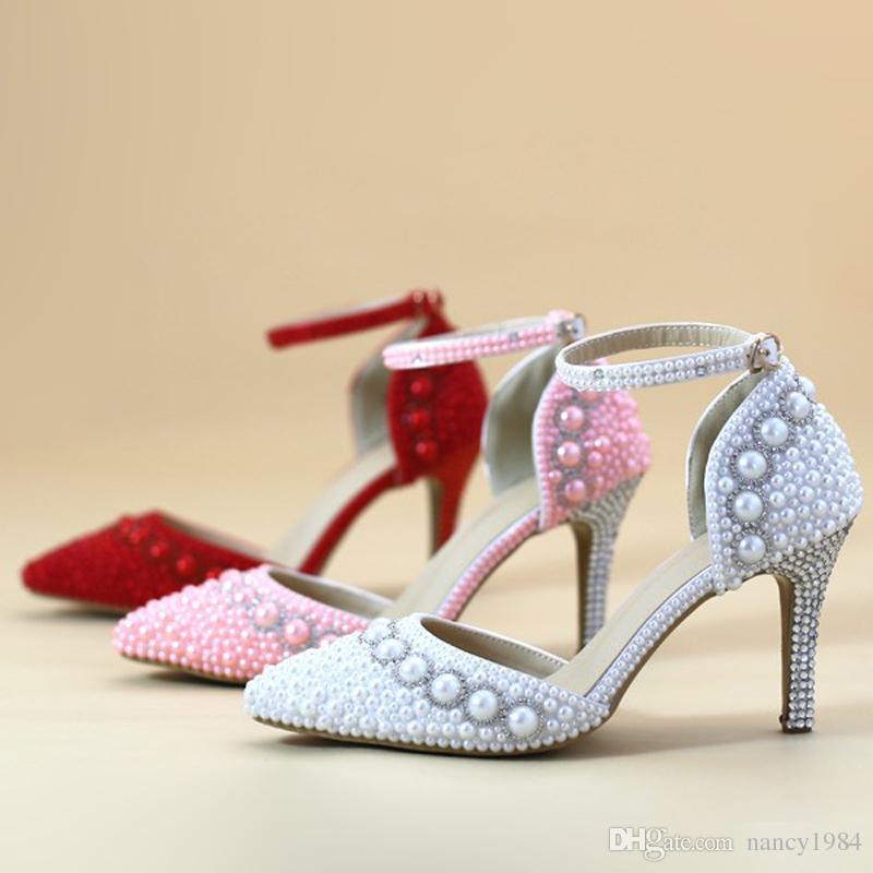 Sandalias de verano para mujer Zapatos de fiesta de bodas de perlas de diamantes de imitación en punta en punta Zapatos de novia preciosos con correas de tobillo Blanco, rojo y rosa