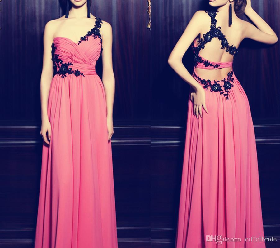 2016 Cheap Chiffon Prom Dresses Sexy Nero Pizzo Applique Una Spalla Elegante Water Melon Una Linea Backless Abiti Da Sera Formale
