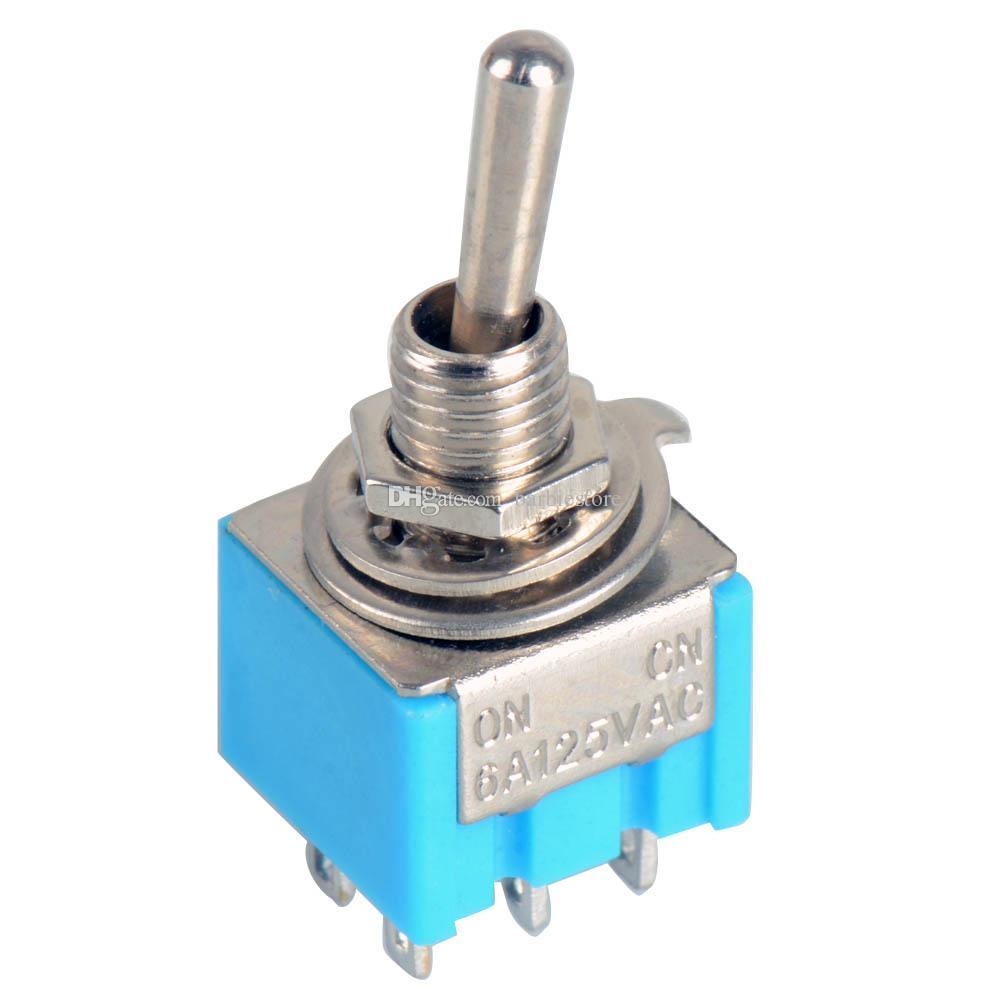 5pcs bleu 6 broches DPDT ON-ON Mini MTS-203 6A125VAC Miniature Commutateurs à Bascule B00020 BARD