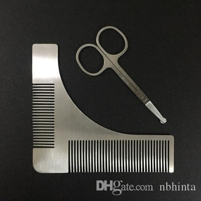 2pcs/set Beard Shaping Tool Template and Scissors Kit, ZDU Stainless Steel Beard Shaper and Styling Comb Stencil for Line Up