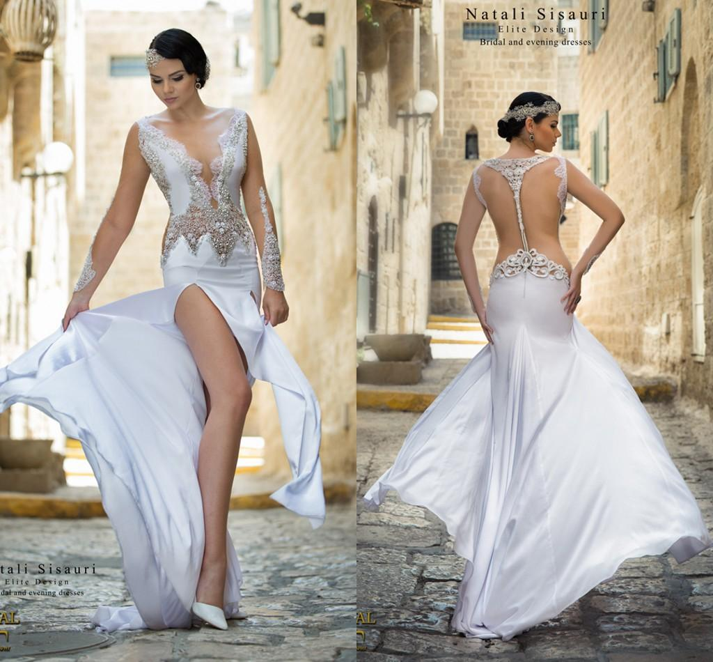 Natali Sisauri Arabic 2016 Beach Wedding Dresses Sheer Neck Lace Beaded Pearls Long Sleeves Bridal High Split Sexy Gowns 2018 From