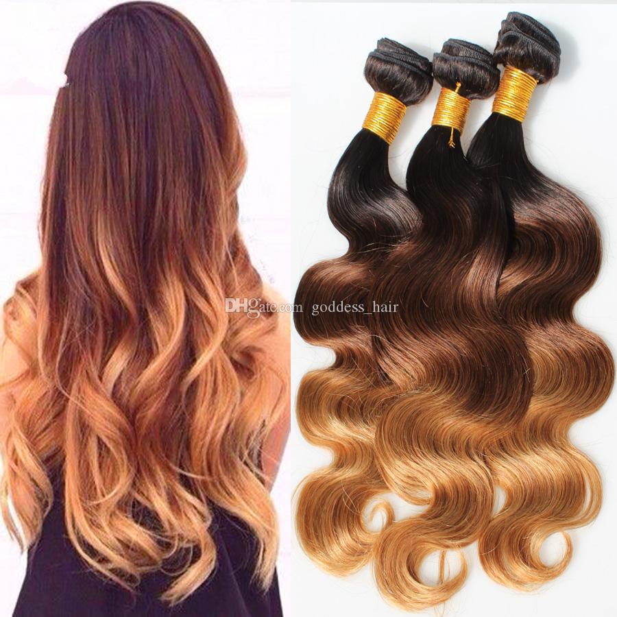 Brésilien 3 Tone 7A Ombre Cheveux Extensions 1b / 4/27 Ombre Cheveux Tisse 3 pcs / lot Blonde Corps Vague Vierge de Cheveux Humains
