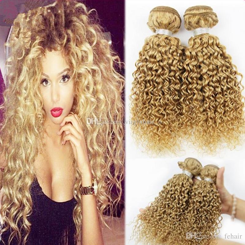 Brazilian Blonde Human Hair Deep Curly Weave Bundles 300gram 27
