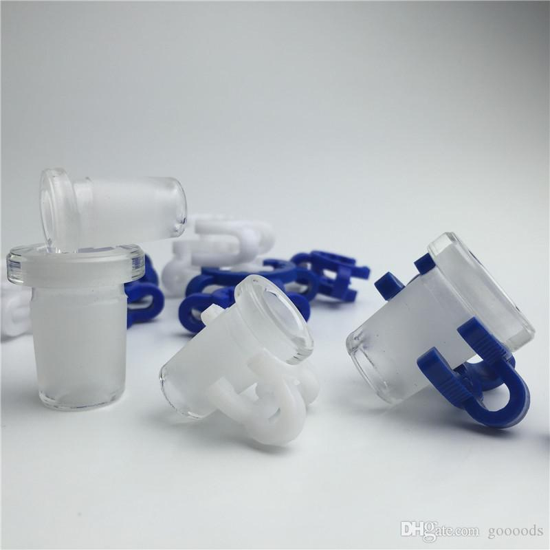 two plastic keck clip with 10mm 14mm 18mm glass adapter blue white keck clips with short glass water pipes for moking