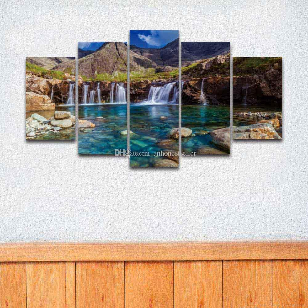 5 Panel Prints Modern Waterfall Landscape Imagen Modular de la Lona Pintura para Wall Art Home Decor Living Room