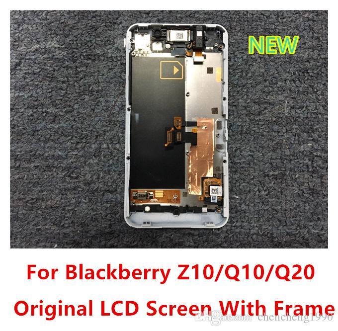 الأصلي جديد شاشة LCD تعمل باللمس محول الأرقام مع 3G / 4G الإطار لبلاك بيري Z10 Q10 Q20 أبيض أسود