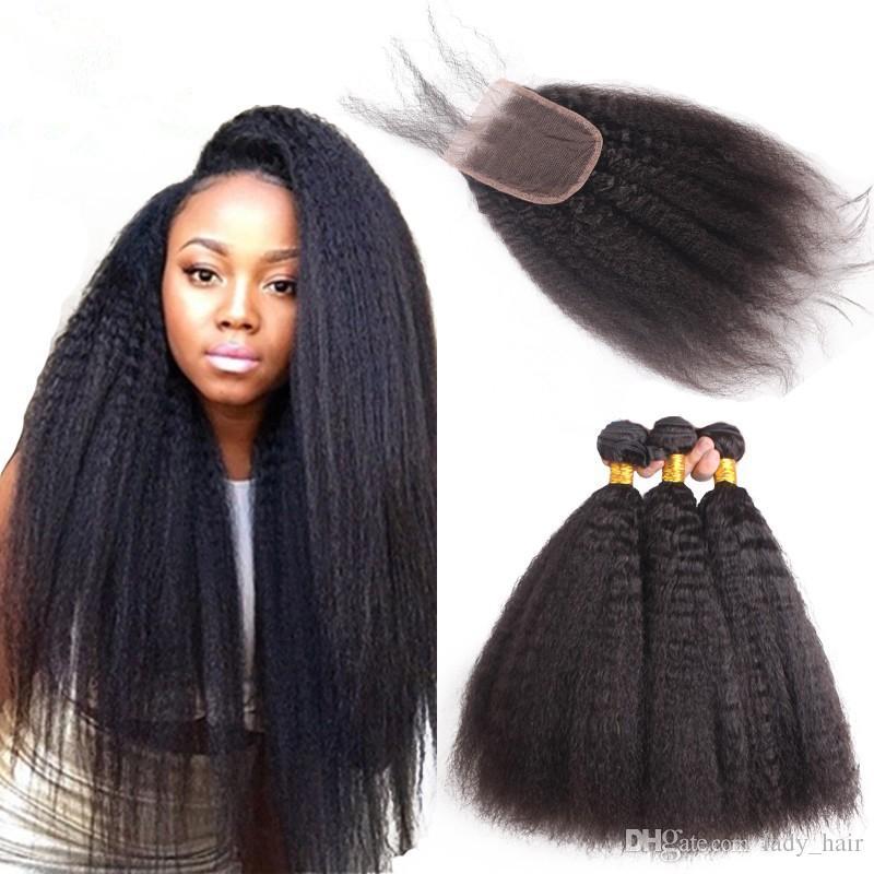 Stock Mongolian kinky steil haar 3 stks met 4 * 4 kant sluiting Italiaanse Yaki Mongolian Human Hair Weave Bundels met Sluiting 4pcs Lot