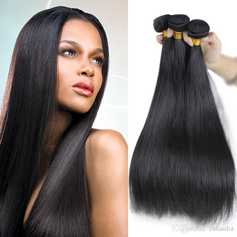 Lordo 9A brasiliana diritta dei capelli umani del Virgin tessuto Bundles peruviano indiano malese cambogiano russo cuticola Allineati Remy trama dei capelli