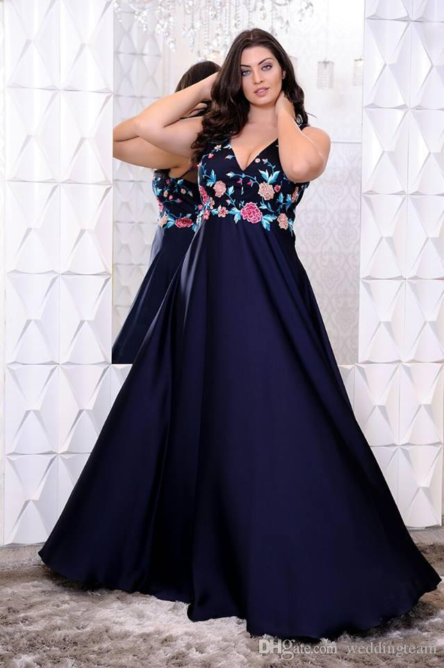 Stunning Navy Blue Plus Size Prom Dresses V Neck Floral Appliques Evening  Gowns A Line Floor Length Chiffon Formal Dress Prom Plus Size Special ...