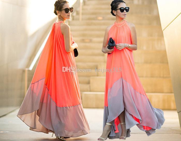 Estate Plus Size Donne Sexy Halter Abito Chiffon Dress Bohemian Maxi Abito lungo Beach Party Dresses Abiti da sera Abiti da ballo