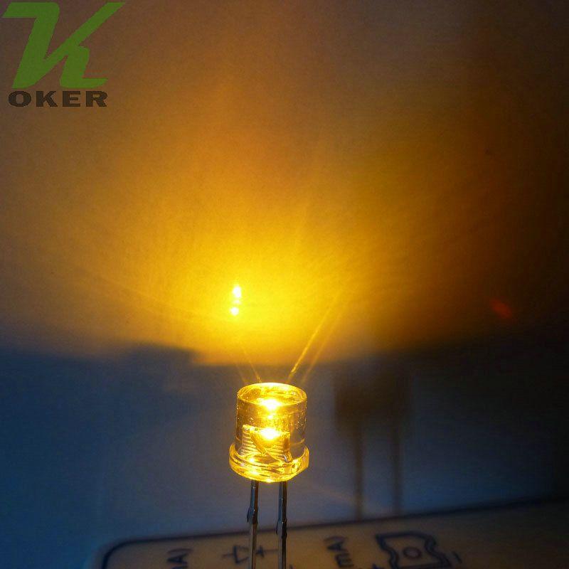 1000pcs 5mm Yellow Flat top LED Light Lamp led Diodes 5mm Flat Top Ultra Bright Wide Angle LEDs