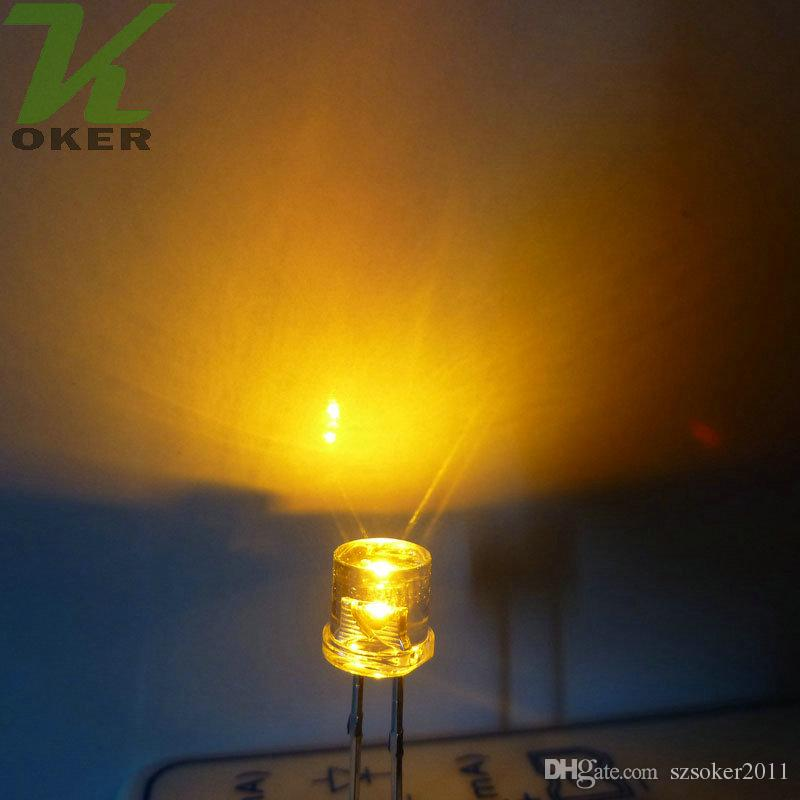 1000 stücke 5mm Gelb Flat top LED Licht Lampe led Dioden 5mm Flat Top Ultra Helle Weitwinkel LEDs