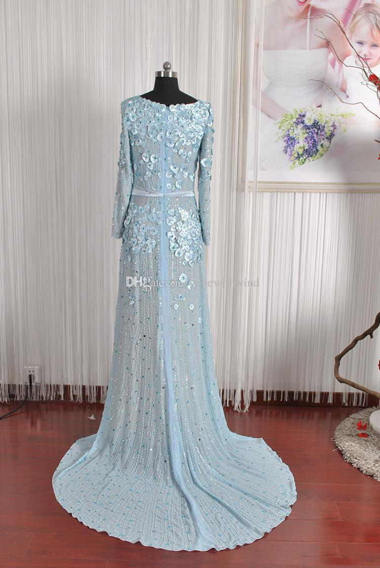 Discount Actual Photos Long Sleeves Arab Dubai Blue Wedding Dresses ...